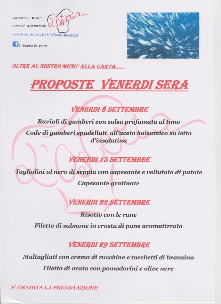 venerdi pesce settembre 2017